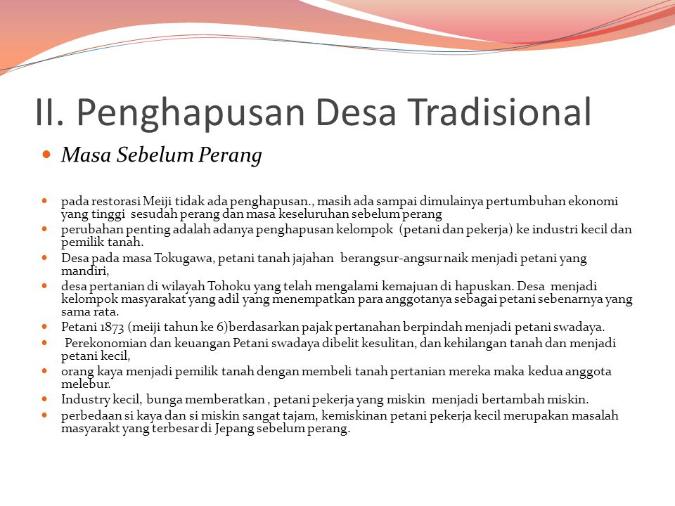 II. Penghapusan Desa Tradisional