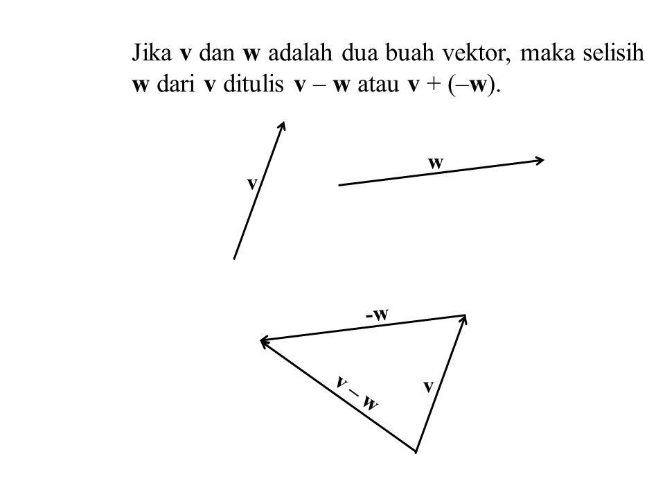 Jika v dan w adalah dua buah vektor, maka selisih w dari v ditulis v – w atau v + (–w).