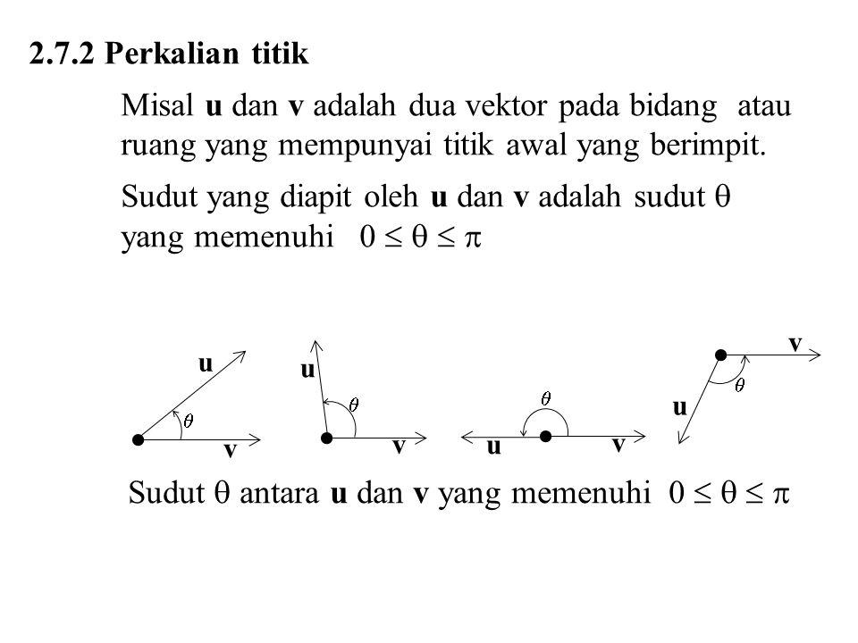 Sudut yang diapit oleh u dan v adalah sudut  yang memenuhi 0    