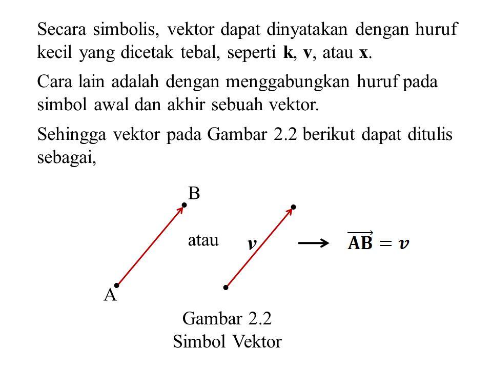 Secara simbolis, vektor dapat dinyatakan dengan huruf kecil yang dicetak tebal, seperti k, v, atau x.