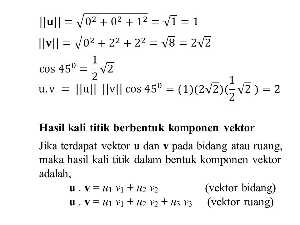 Hasil kali titik berbentuk komponen vektor