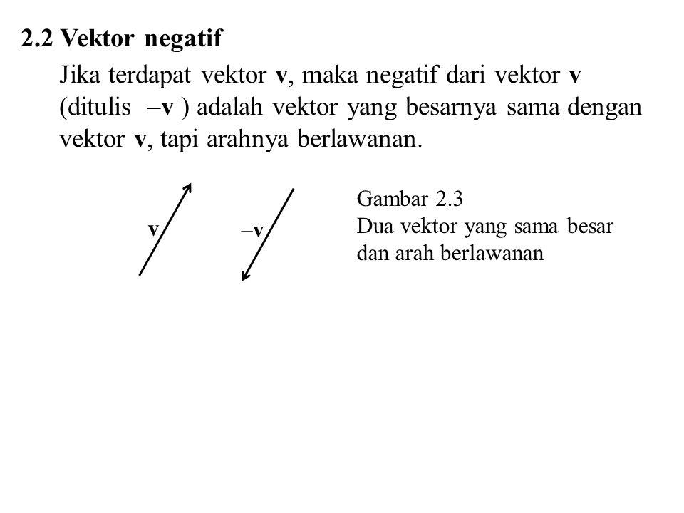Jika terdapat vektor v, maka negatif dari vektor v