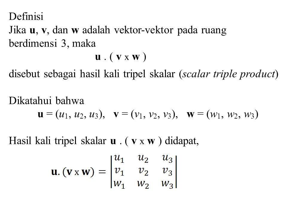 Definisi Jika u, v, dan w adalah vektor-vektor pada ruang. berdimensi 3, maka. u . ( v x w )