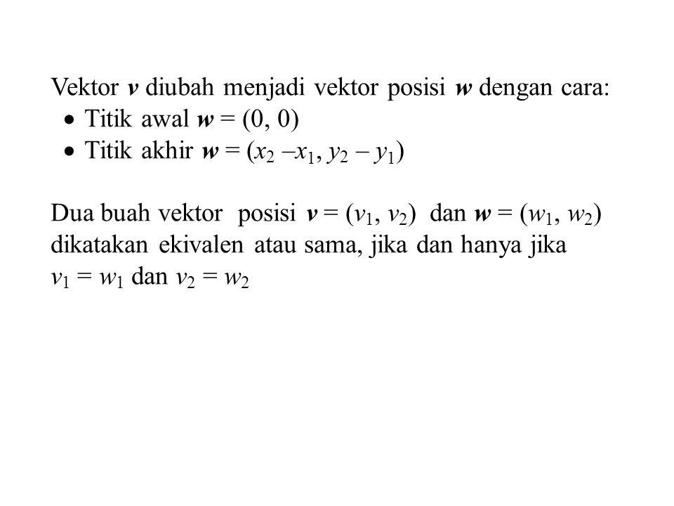 Vektor v diubah menjadi vektor posisi w dengan cara:
