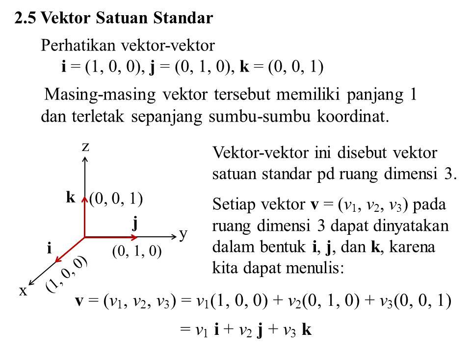 2.5 Vektor Satuan Standar Perhatikan vektor-vektor. i = (1, 0, 0), j = (0, 1, 0), k = (0, 0, 1)