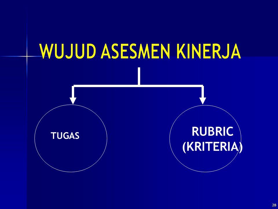 WUJUD ASESMEN KINERJA RUBRIC (KRITERIA) TUGAS