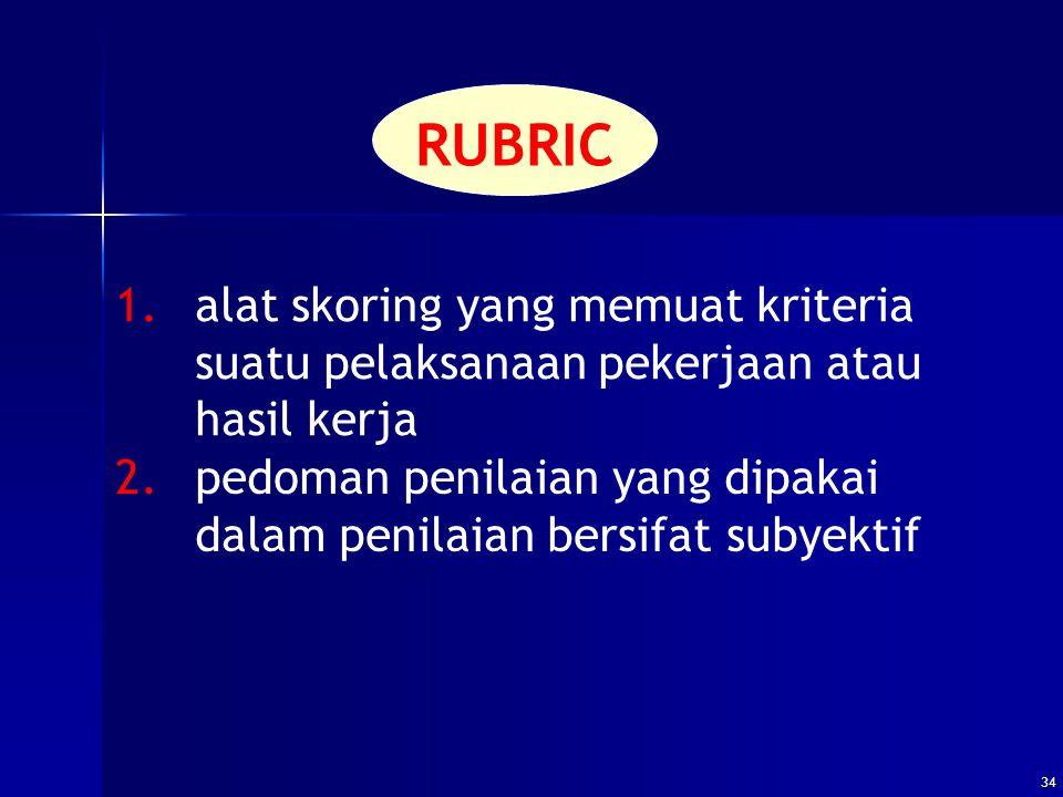 RUBRIC 1. alat skoring yang memuat kriteria suatu pelaksanaan pekerjaan atau hasil kerja.