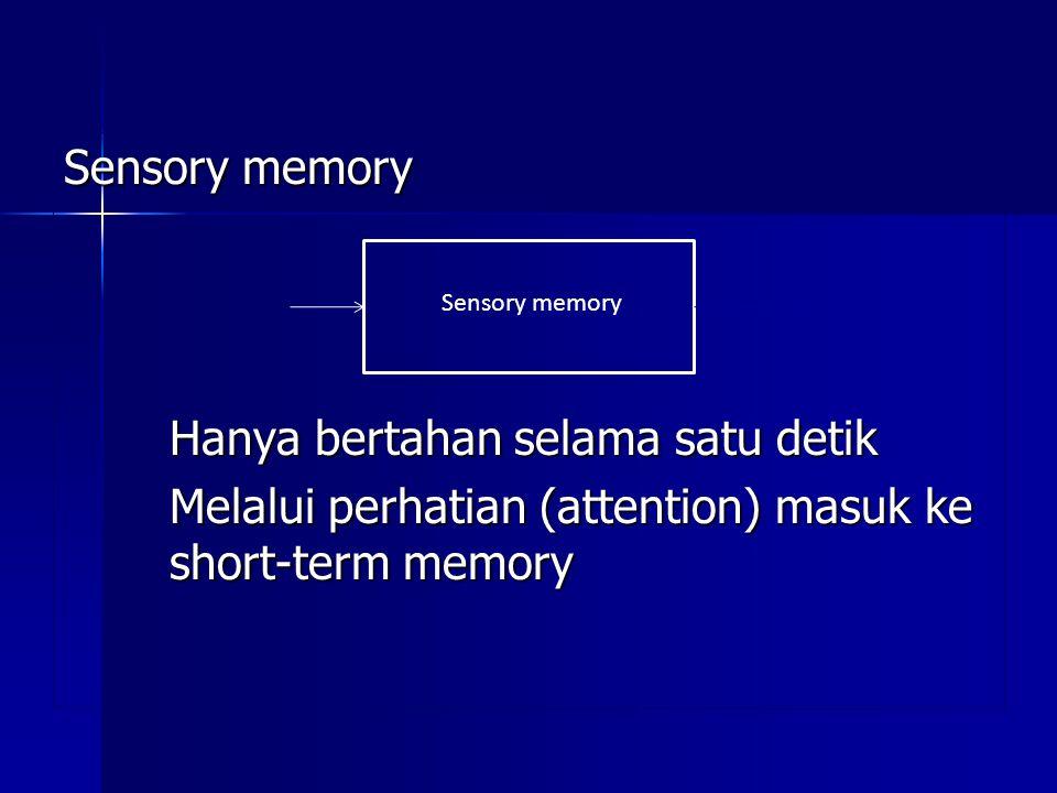 Sensory memory Hanya bertahan selama satu detik Melalui perhatian (attention) masuk ke short-term memory