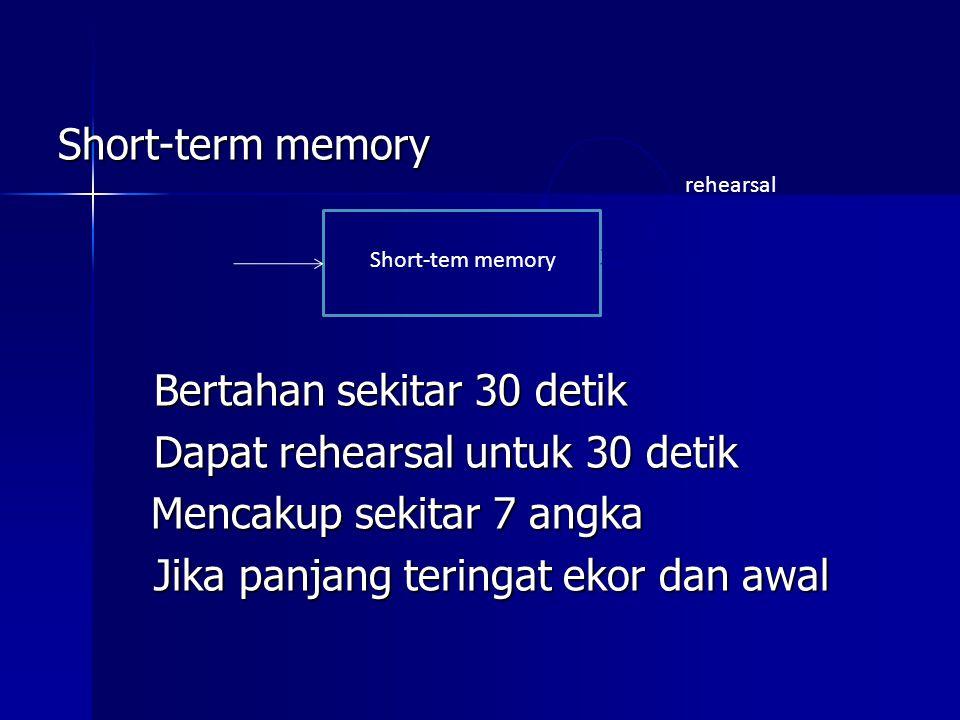 Short-term memory Bertahan sekitar 30 detik Dapat rehearsal untuk 30 detik Mencakup sekitar 7 angka Jika panjang teringat ekor dan awal