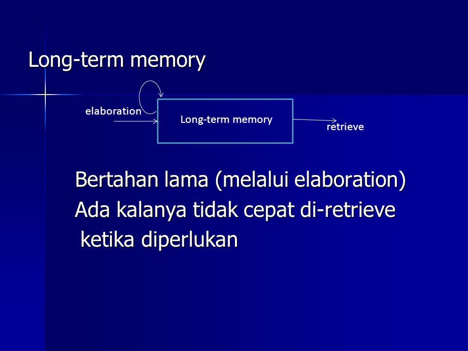 Long-term memory Bertahan lama (melalui elaboration) Ada kalanya tidak cepat di-retrieve ketika diperlukan