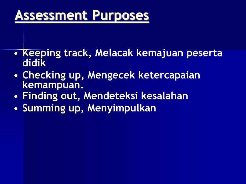 Assessment Purposes Keeping track, Melacak kemajuan peserta didik