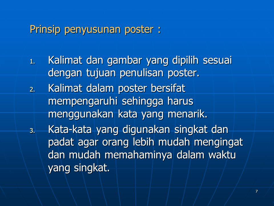 Prinsip penyusunan poster :