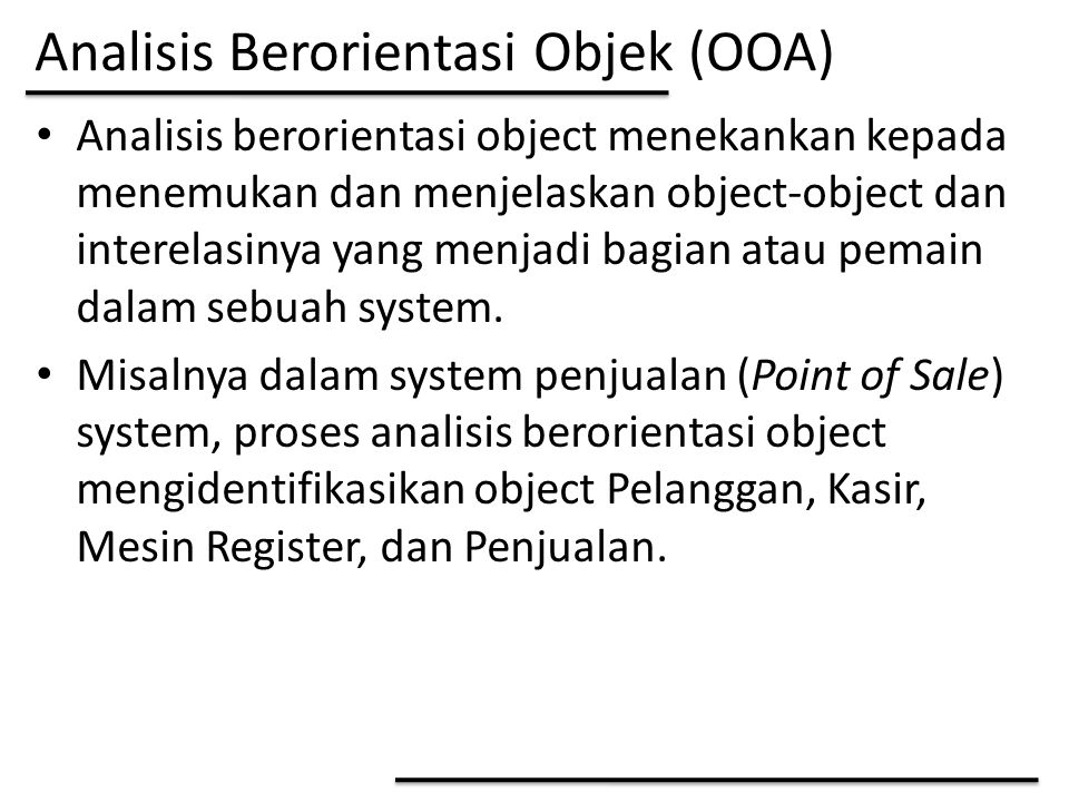 Analisis Berorientasi Objek (OOA)