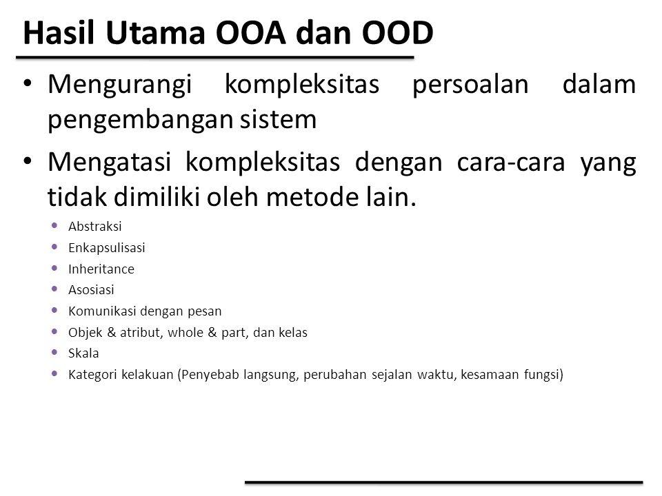 Hasil Utama OOA dan OOD Mengurangi kompleksitas persoalan dalam pengembangan sistem.
