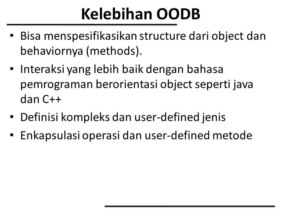 Kelebihan OODB Bisa menspesifikasikan structure dari object dan behaviornya (methods).