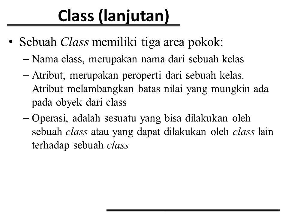 Class (lanjutan) Sebuah Class memiliki tiga area pokok: