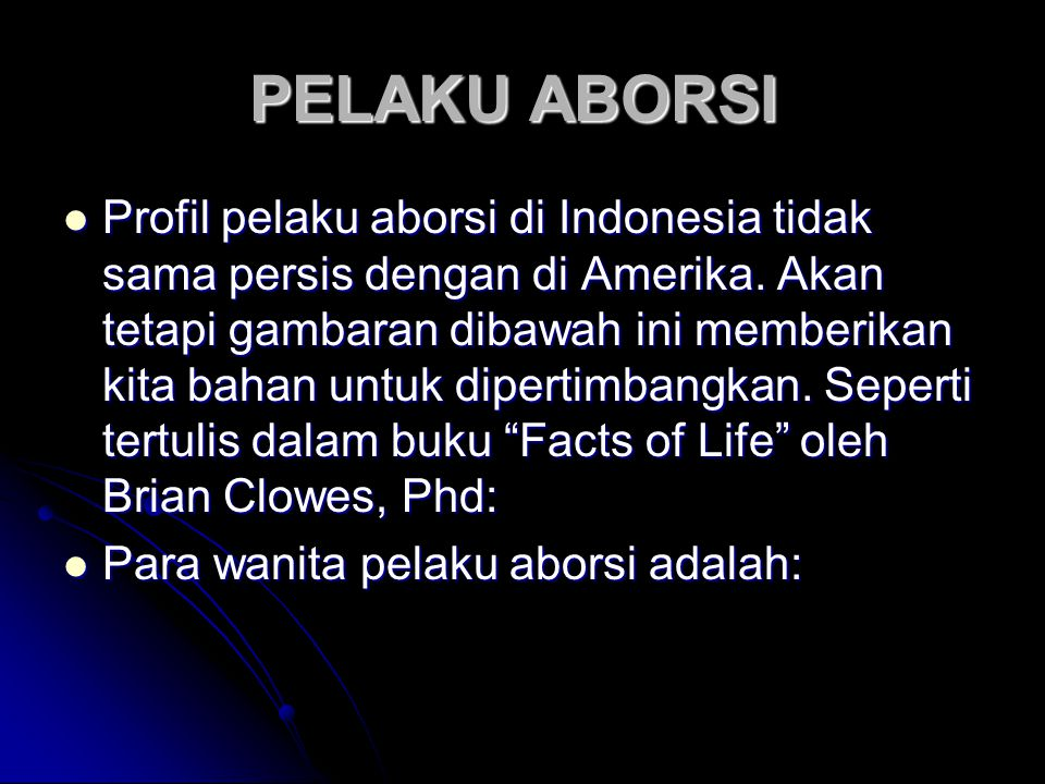 PELAKU ABORSI
