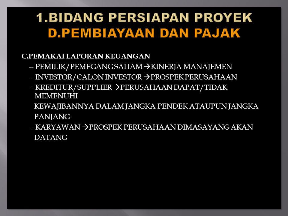 1.BIDANG PERSIAPAN PROYEK D.PEMBIAYAAN DAN PAJAK