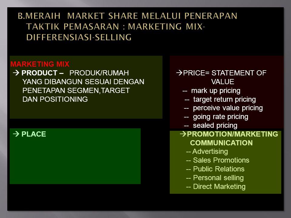 B.MERAIH MARKET SHARE MELALUI PENERAPAN TAKTIK PEMASARAN : MARKETING MIX- DIFFERENSIASI-SELLING