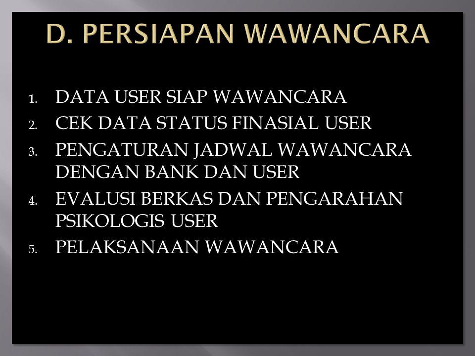D. PERSIAPAN WAWANCARA DATA USER SIAP WAWANCARA