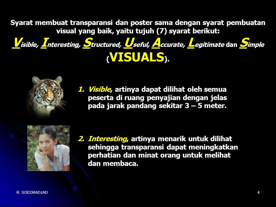 Syarat membuat transparansi dan poster sama dengan syarat pembuatan visual yang baik, yaitu tujuh (7) syarat berikut:
