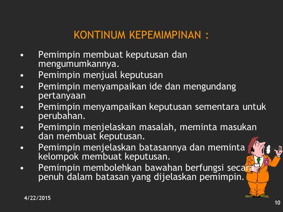 KONTINUM KEPEMIMPINAN :