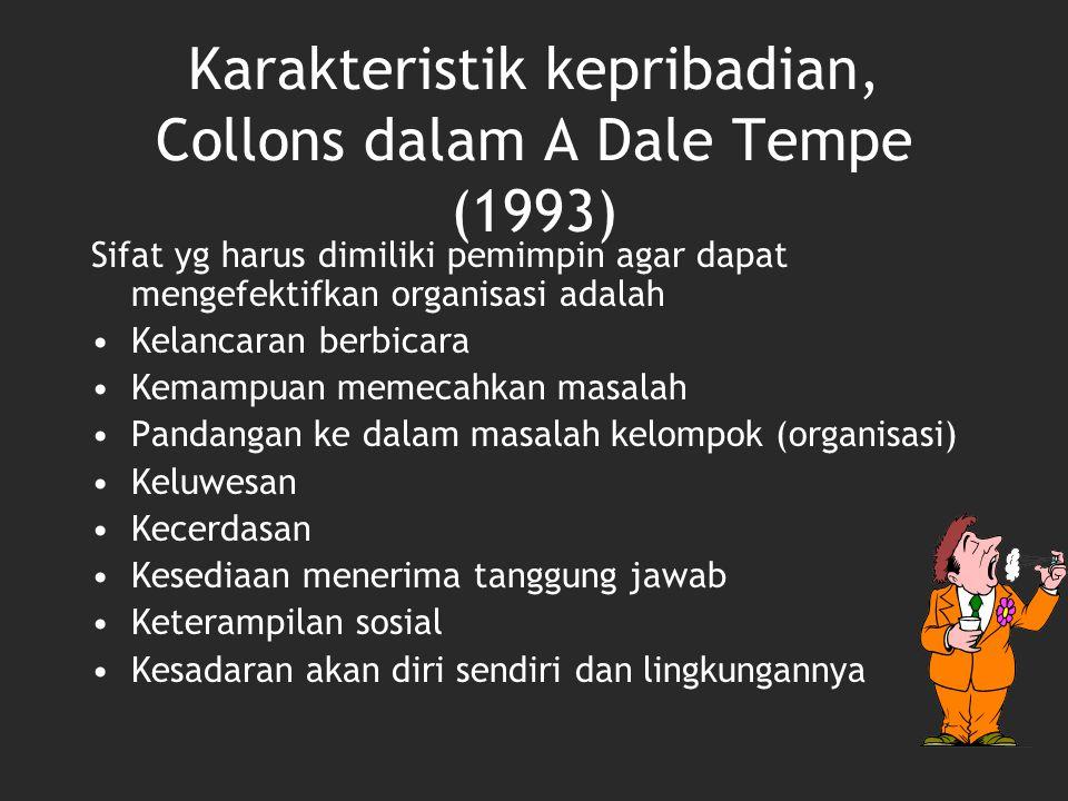 Karakteristik kepribadian, Collons dalam A Dale Tempe (1993)