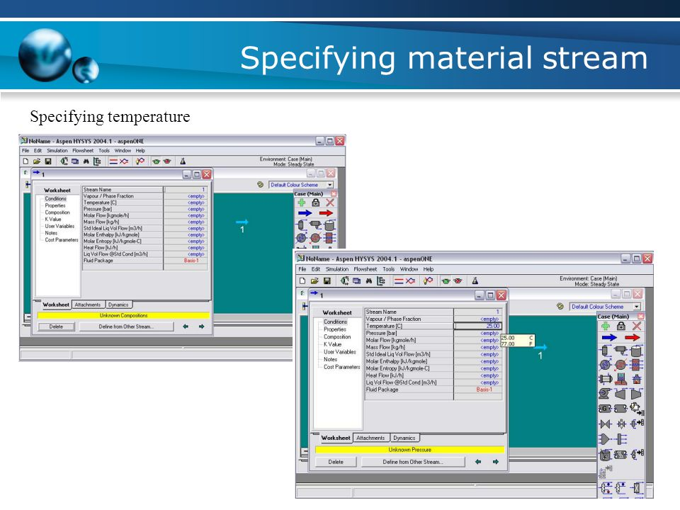 Specifying material stream