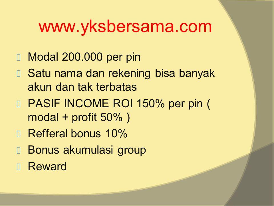 www.yksbersama.com Modal 200.000 per pin