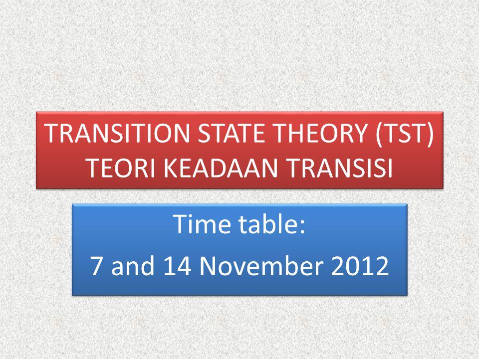 TRANSITION STATE THEORY (TST) TEORI KEADAAN TRANSISI