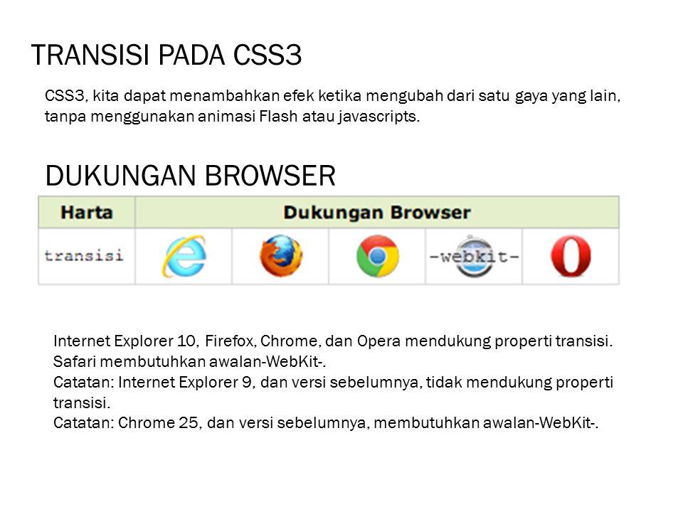 TRANSISI PADA CSS3 DUKUNGAN BROWSER