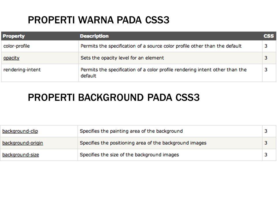Properti WARNA pada CSS3
