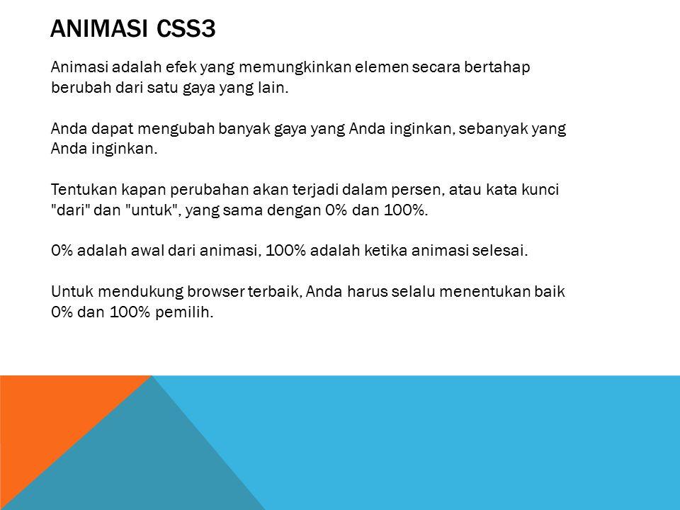 ANIMASI CSS3 Animasi adalah efek yang memungkinkan elemen secara bertahap berubah dari satu gaya yang lain.