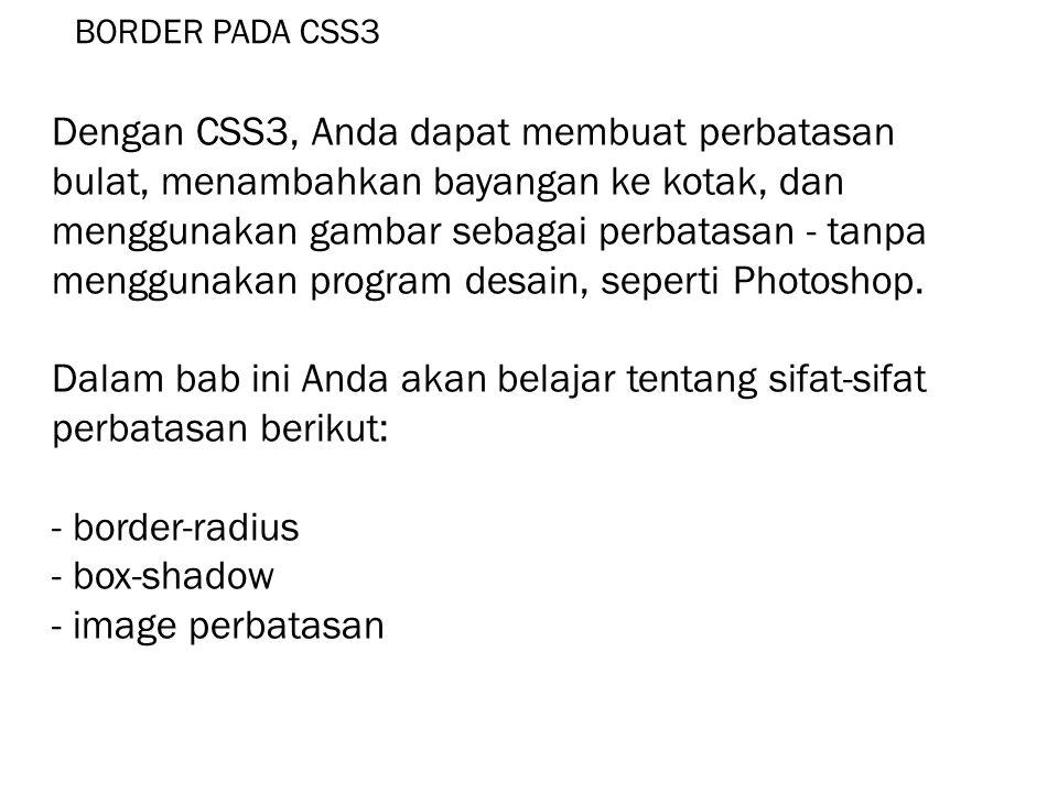 BORDER PADA CSS3