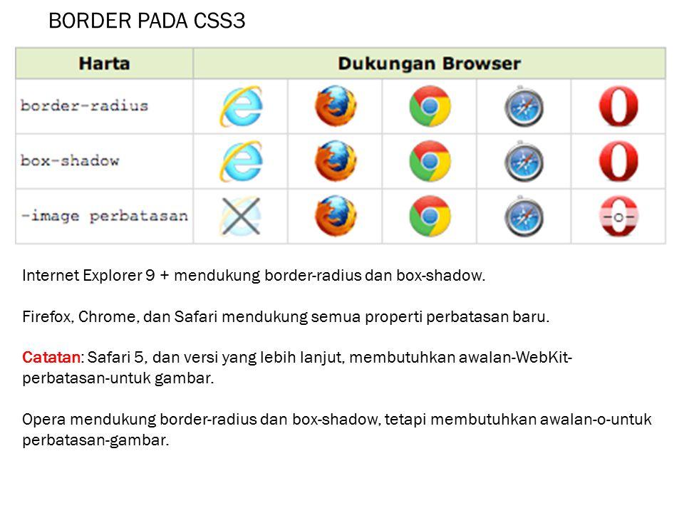 BORDER PADA CSS3 Internet Explorer 9 + mendukung border-radius dan box-shadow. Firefox, Chrome, dan Safari mendukung semua properti perbatasan baru.