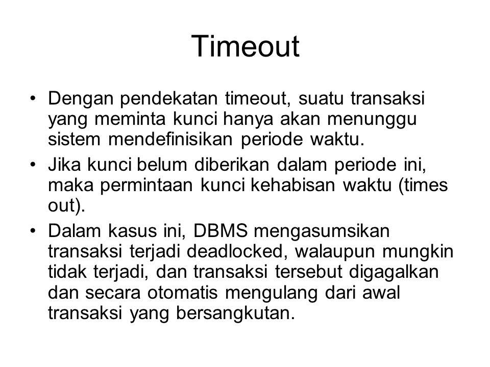 Timeout Dengan pendekatan timeout, suatu transaksi yang meminta kunci hanya akan menunggu sistem mendefinisikan periode waktu.
