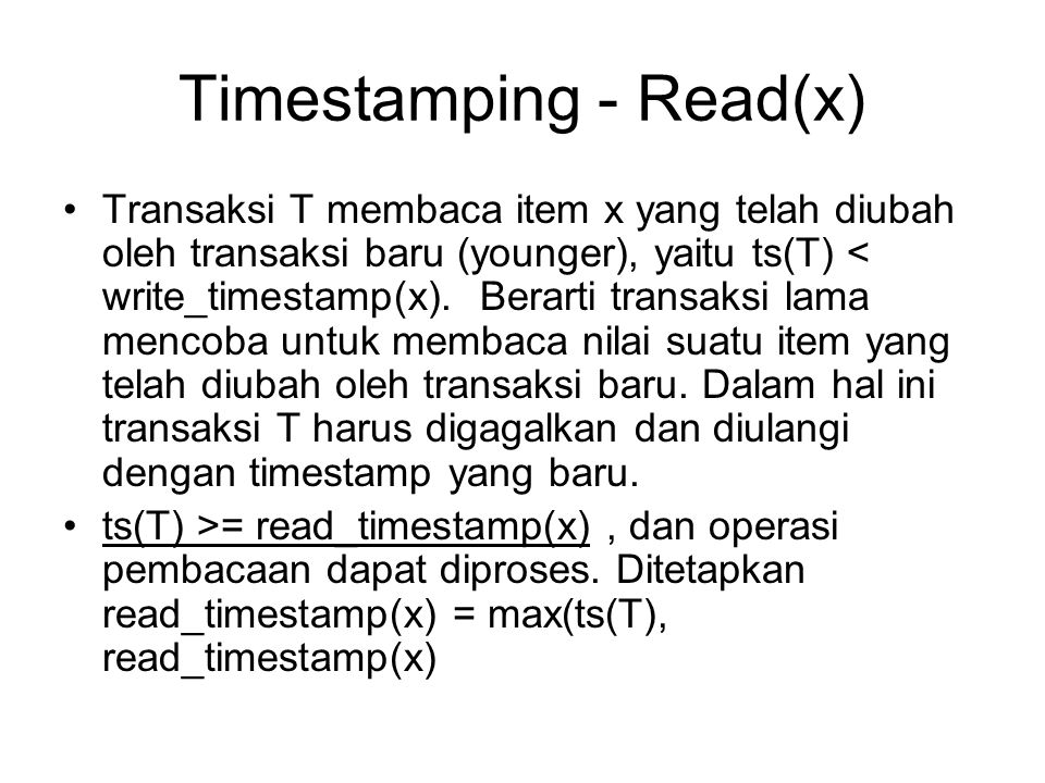 Timestamping - Read(x)