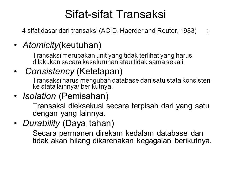 Sifat-sifat Transaksi 4 sifat dasar dari transaksi (ACID, Haerder and Reuter, 1983) :