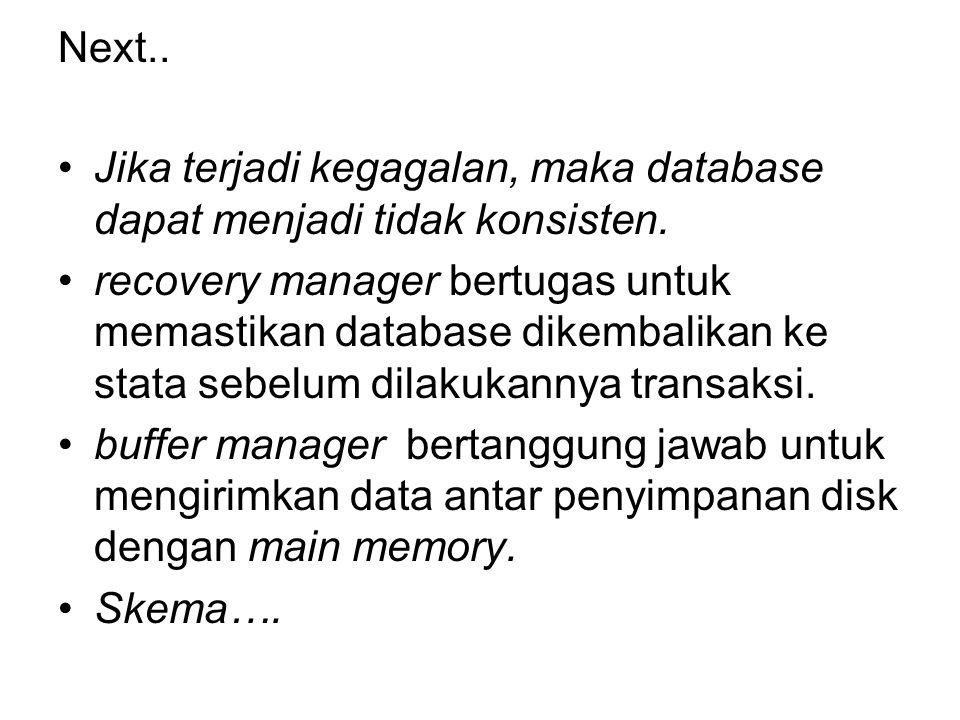 Next.. Jika terjadi kegagalan, maka database dapat menjadi tidak konsisten.