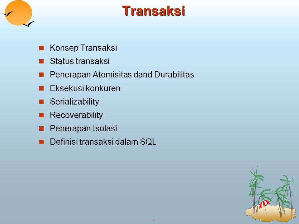 Transaksi Konsep Transaksi Status transaksi