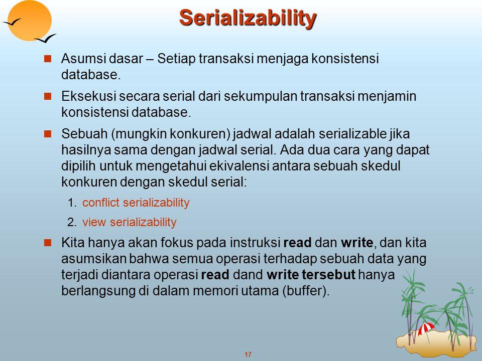 Serializability Asumsi dasar – Setiap transaksi menjaga konsistensi database.