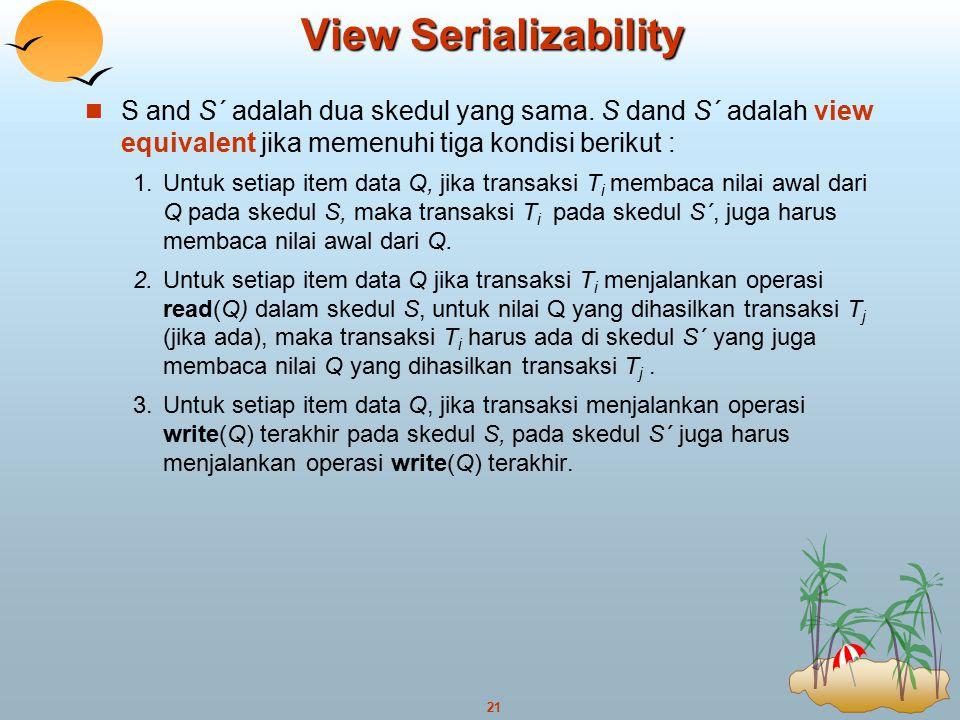 View Serializability S and S´ adalah dua skedul yang sama. S dand S´ adalah view equivalent jika memenuhi tiga kondisi berikut :