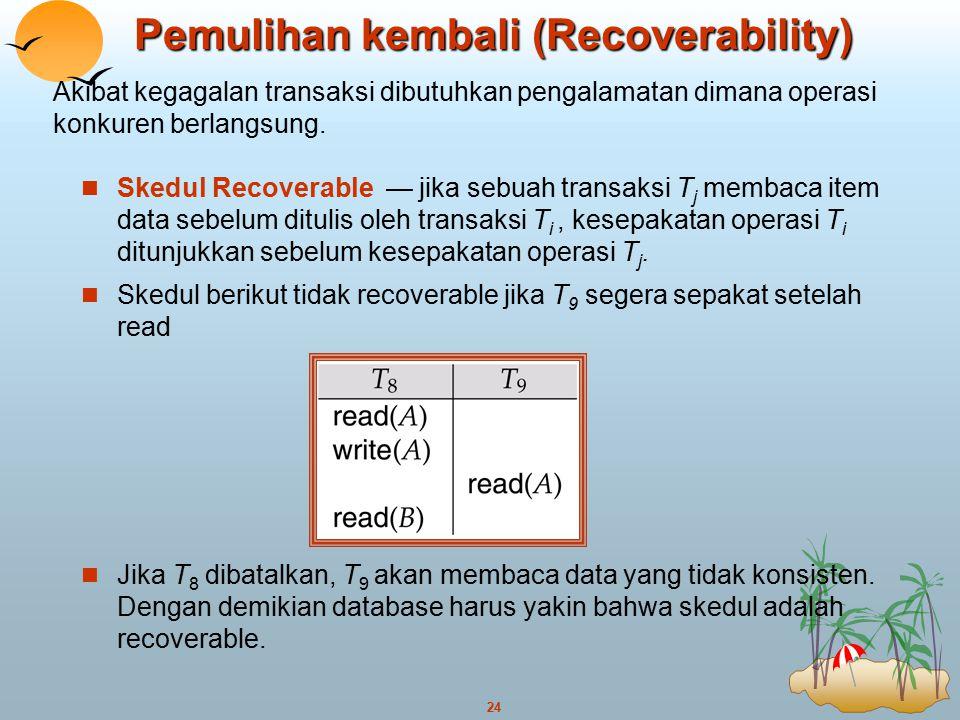 Pemulihan kembali (Recoverability)