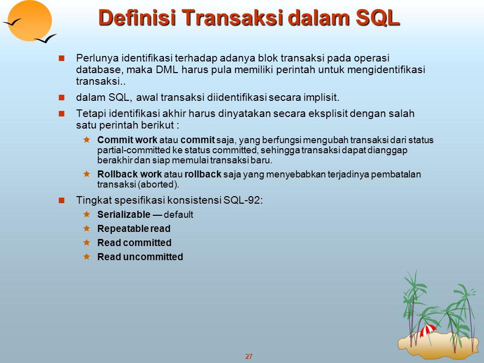 Definisi Transaksi dalam SQL