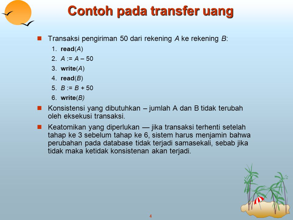 Contoh pada transfer uang