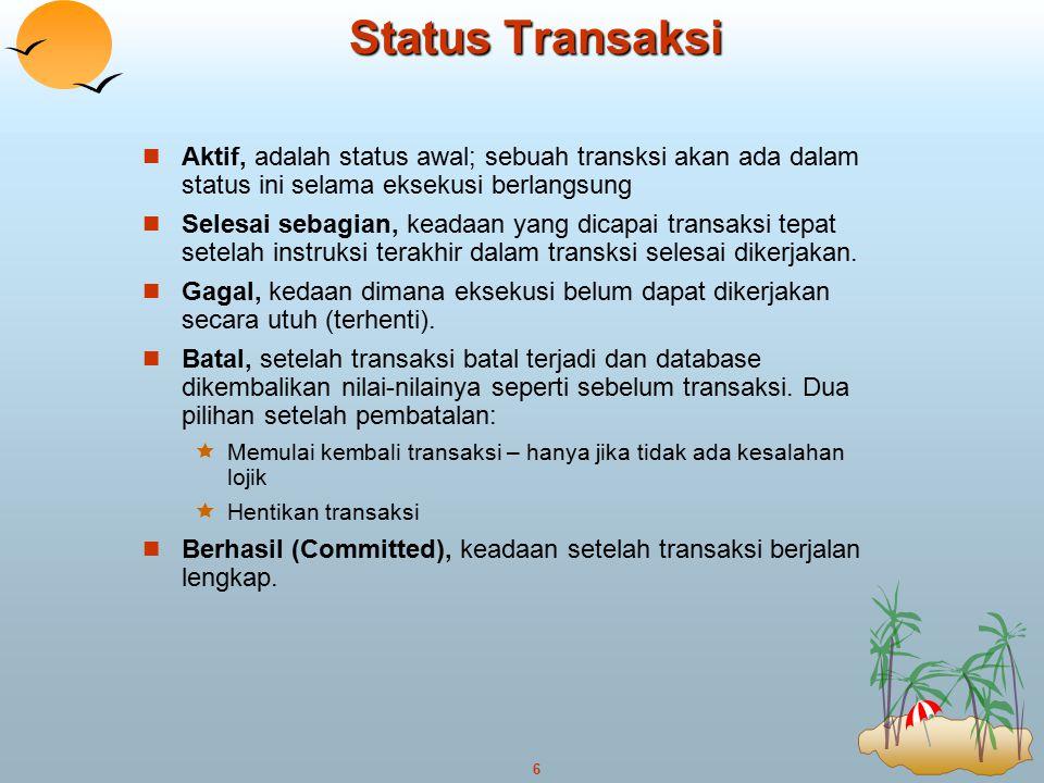 Status Transaksi Aktif, adalah status awal; sebuah transksi akan ada dalam status ini selama eksekusi berlangsung.