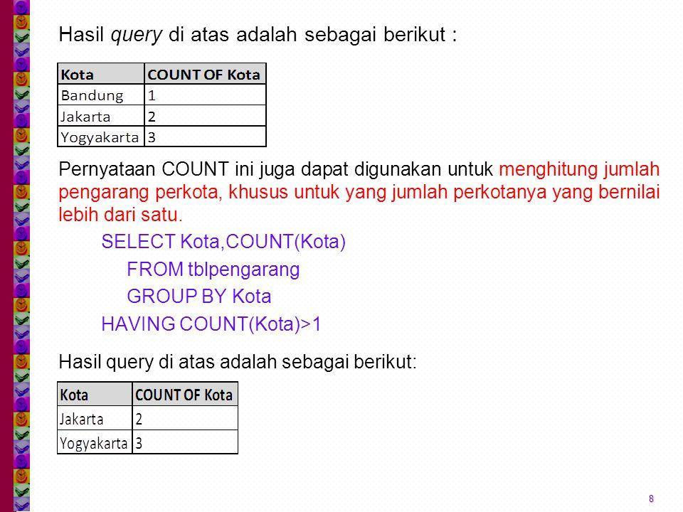Hasil query di atas adalah sebagai berikut :
