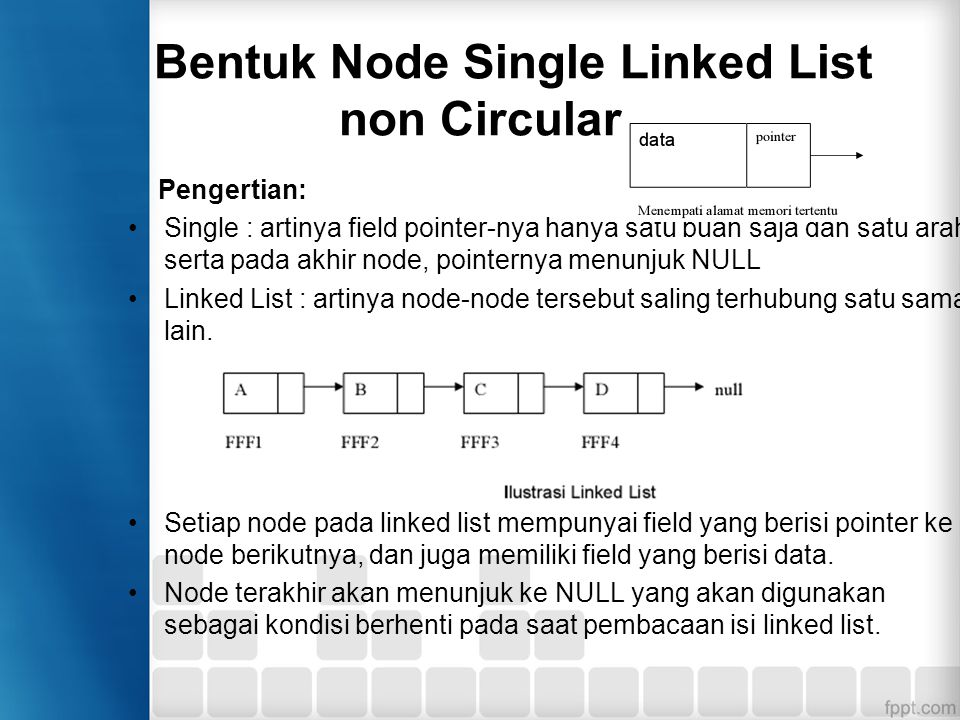 Bentuk Node Single Linked List non Circular
