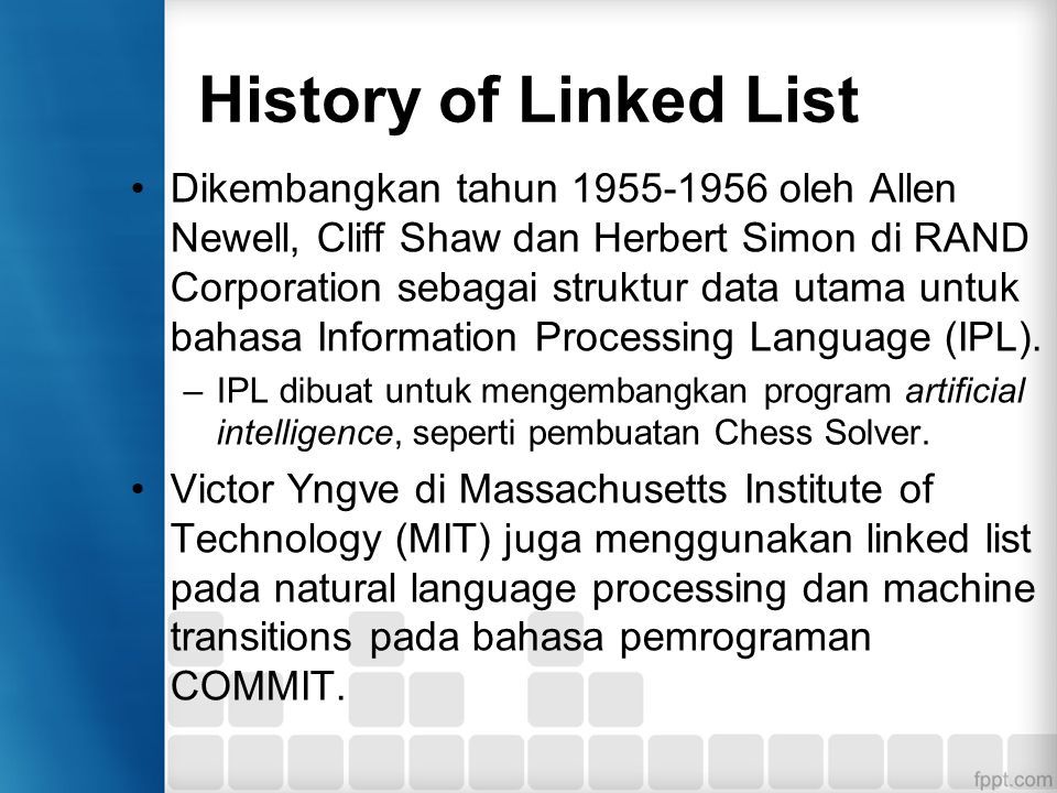 History of Linked List