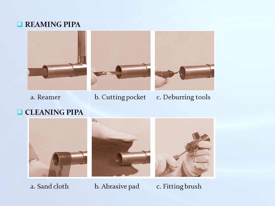 REAMING PIPA CLEANING PIPA a. Reamer b. Cutting pocket